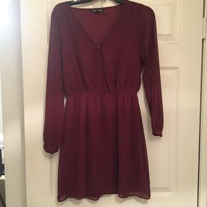 Maroon Sheer Sleeve Express Dress